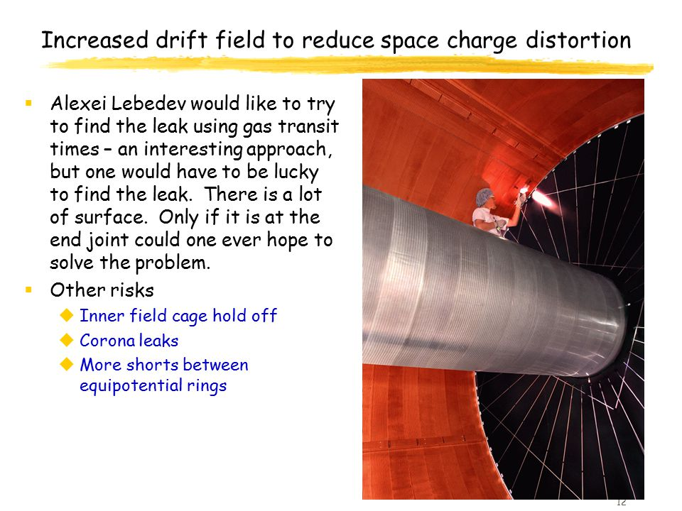 12 Increased drift field to reduce space charge distortion  Alexei Lebedev would like to try to find the leak using gas transit times – an interestin