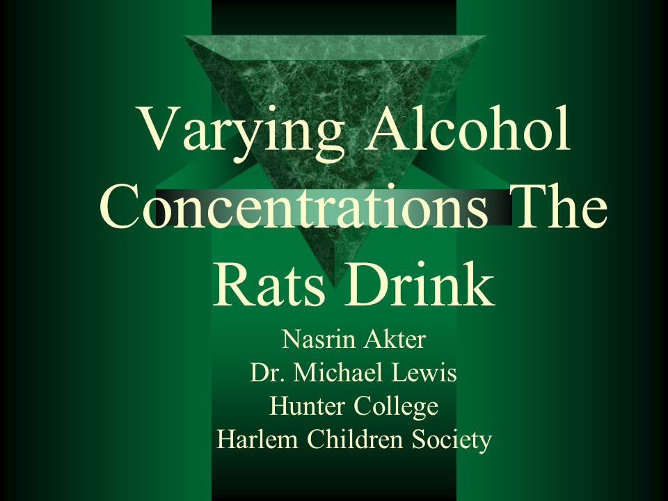 Varying Alcohol Concentrations The Rats Drink Nasrin Akter Dr.