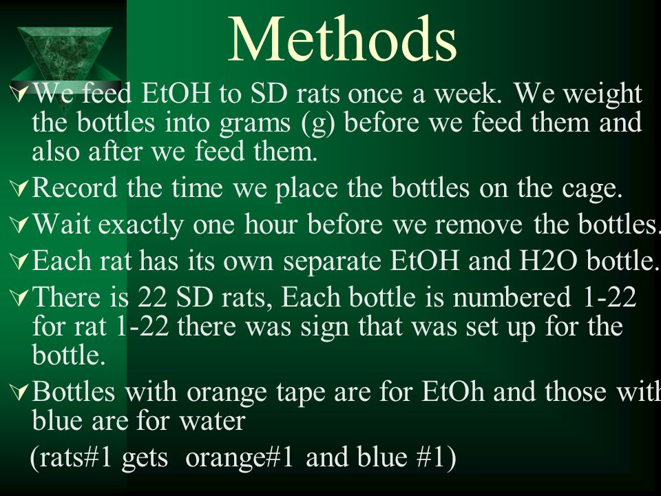 Methods  We feed EtOH to SD rats once a week.