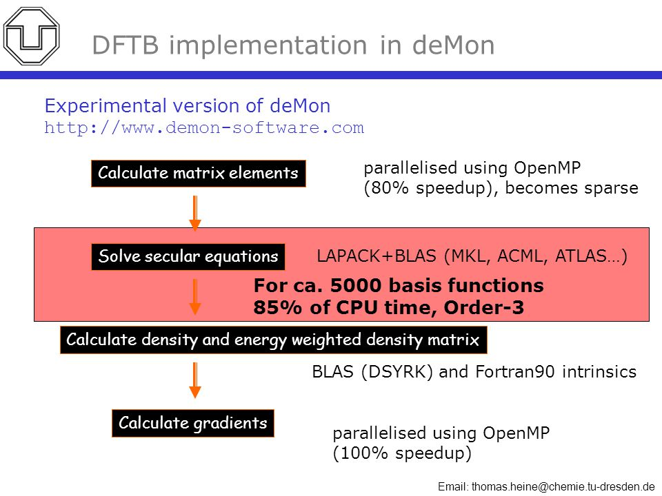 Email: thomas.heine@chemie.tu-dresden.de For ca. 5000 basis functions 85% of CPU time, Order-3 DFTB implementation in deMon Calculate matrix elements