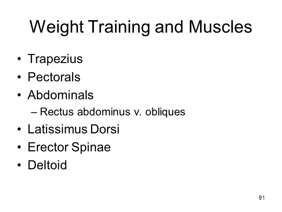 Weight Training and Muscles Trapezius Pectorals Abdominals –Rectus abdominus v. obliques Latissimus Dorsi Erector Spinae Deltoid 91