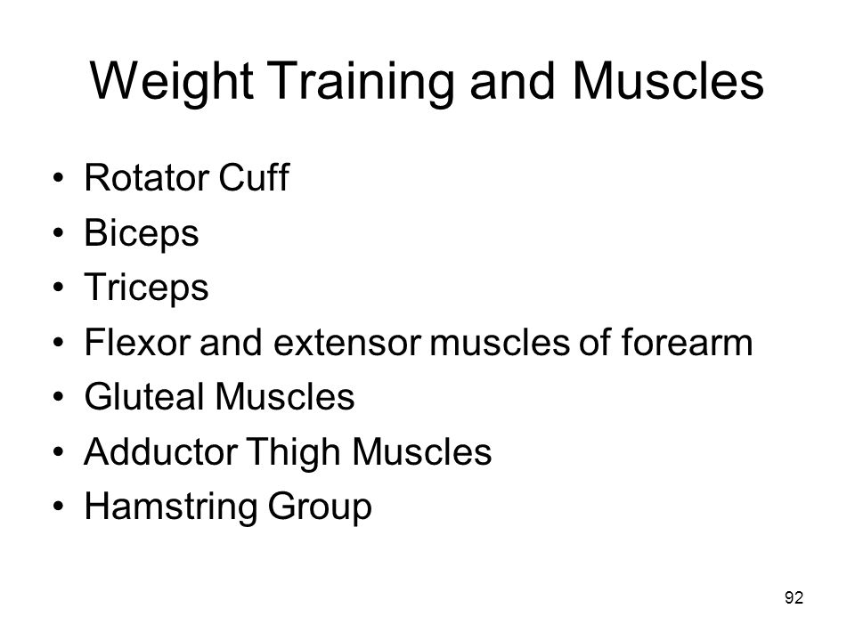Weight Training and Muscles Rotator Cuff Biceps Triceps Flexor and extensor muscles of forearm Gluteal Muscles Adductor Thigh Muscles Hamstring Group 92