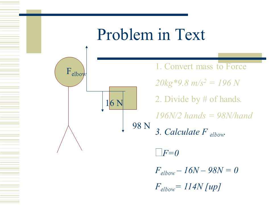 Problem in Text 1. Convert mass to Force 20kg*9.8 m/s 2 = 196 N 2. Divide by # of hands. 196N/2 hands = 98N/hand 3. Calculate F elbow.  F=0 F elbow –