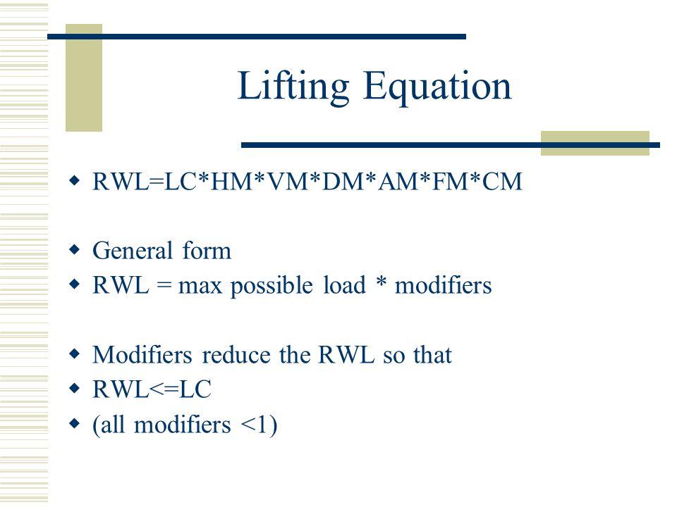 Lifting Equation  RWL=LC*HM*VM*DM*AM*FM*CM  General form  RWL = max possible load * modifiers  Modifiers reduce the RWL so that  RWL<=LC  (all m