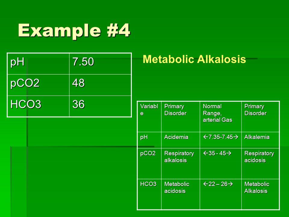 Example #4 Variabl e Primary Disorder Normal Range, arterial Gas Primary Disorder pHAcidemia  7.35-7.45  Alkalemia pCO2 Respiratory alkalosis  35 - 45  Respiratory acidosis HCO3 Metabolic acidosis  22 – 26  Metabolic Alkalosis pH7.50pCO248 HCO336