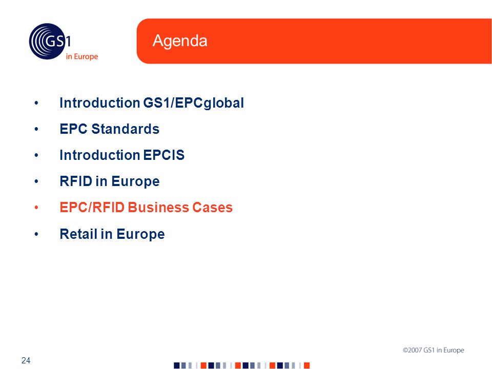 24 Agenda Introduction GS1/EPCglobal EPC Standards Introduction EPCIS RFID in Europe EPC/RFID Business Cases Retail in Europe