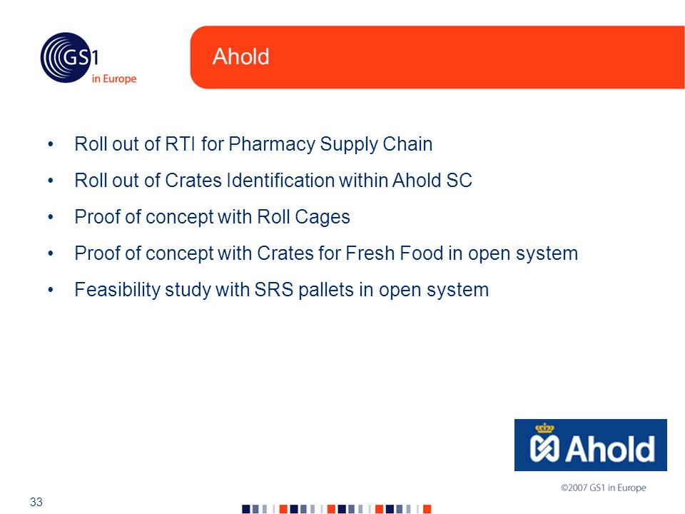 33 Ahold Roll out of RTI for Pharmacy Supply Chain Roll out of Crates Identification within Ahold SC Proof of concept with Roll Cages Proof of concept with Crates for Fresh Food in open system Feasibility study with SRS pallets in open system