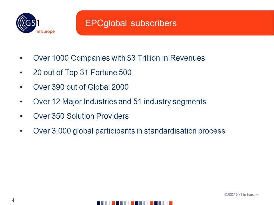 4 EPCglobal subscribers Over 1000 Companies with $3 Trillion in Revenues 20 out of Top 31 Fortune 500 Over 390 out of Global 2000 Over 12 Major Industries and 51 industry segments Over 350 Solution Providers Over 3,000 global participants in standardisation process