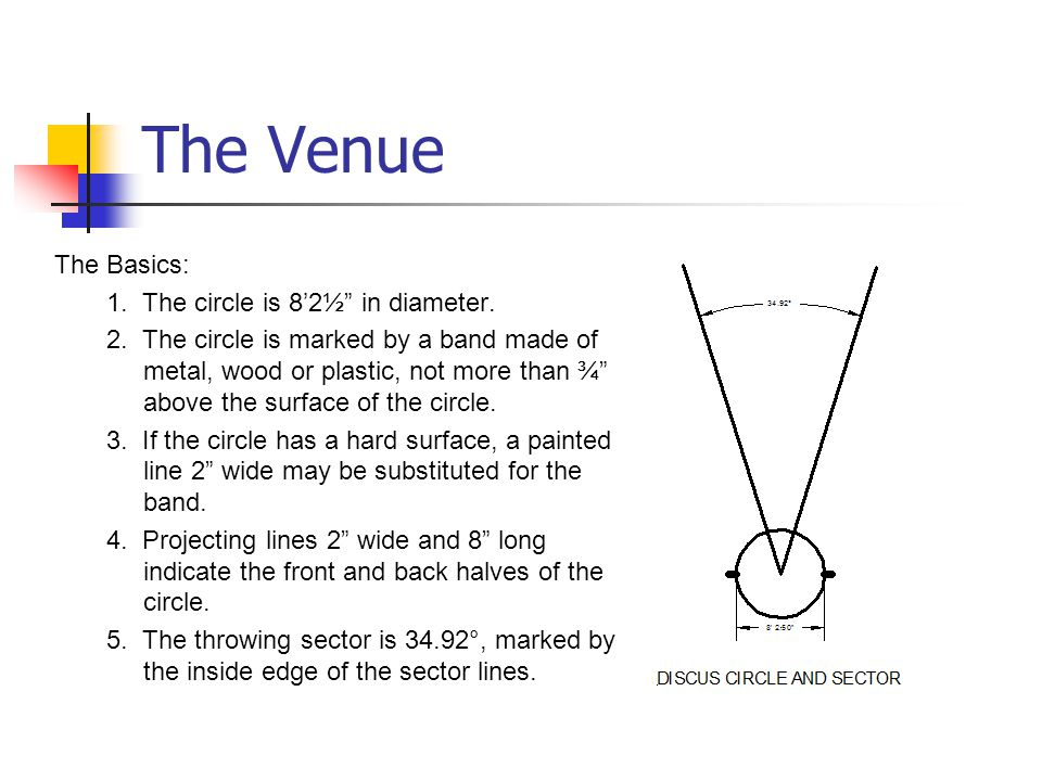 The Venue The Basics: 1.The circle is 8'2½ in diameter.