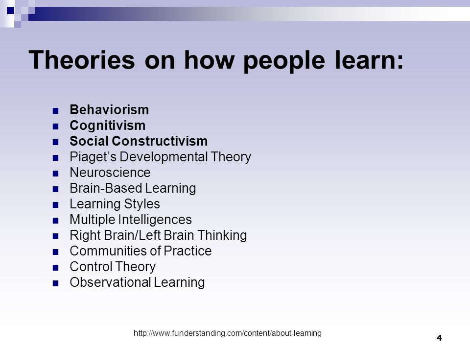 4 Theories on how people learn: Behaviorism Cognitivism Social Constructivism Piaget's Developmental Theory Neuroscience Brain-Based Learning Learning
