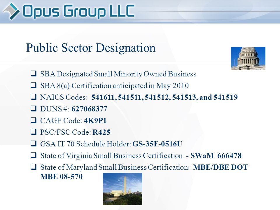 Public Sector Designation  SBA Designated Small Minority Owned Business  SBA 8(a) Certification anticipated in May 2010  NAICS Codes: 541611, 541511, 541512, 541513, and 541519  DUNS #: 627068377  CAGE Code: 4K9P1  PSC/FSC Code: R425  GSA IT 70 Schedule Holder: GS-35F-0516U  State of Virginia Small Business Certification: - SWaM 666478  State of Maryland Small Business Certification: MBE/DBE DOT MBE 08-570