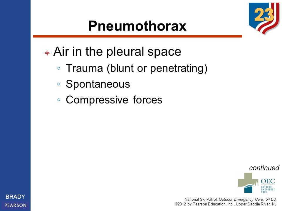 National Ski Patrol, Outdoor Emergency Care, 5 th Ed. ©2012 by Pearson Education, Inc., Upper Saddle River, NJ BRADY Pneumothorax Air in the pleural s