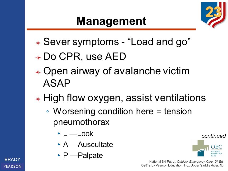 """National Ski Patrol, Outdoor Emergency Care, 5 th Ed. ©2012 by Pearson Education, Inc., Upper Saddle River, NJ BRADY Management Sever symptoms - """"Load"""