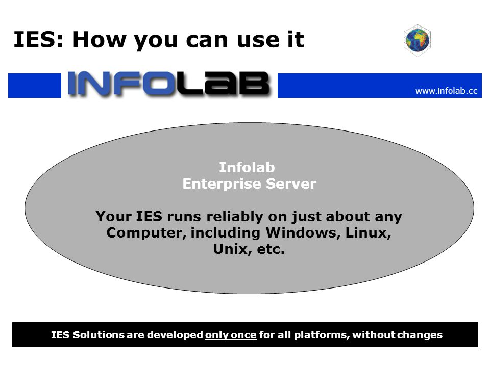 www.infolab.cc IES: How you can use it IES Solutions are developed only once for all platforms, without changes Infolab Enterprise Server Your IES runs reliably on just about any Computer, including Windows, Linux, Unix, etc.