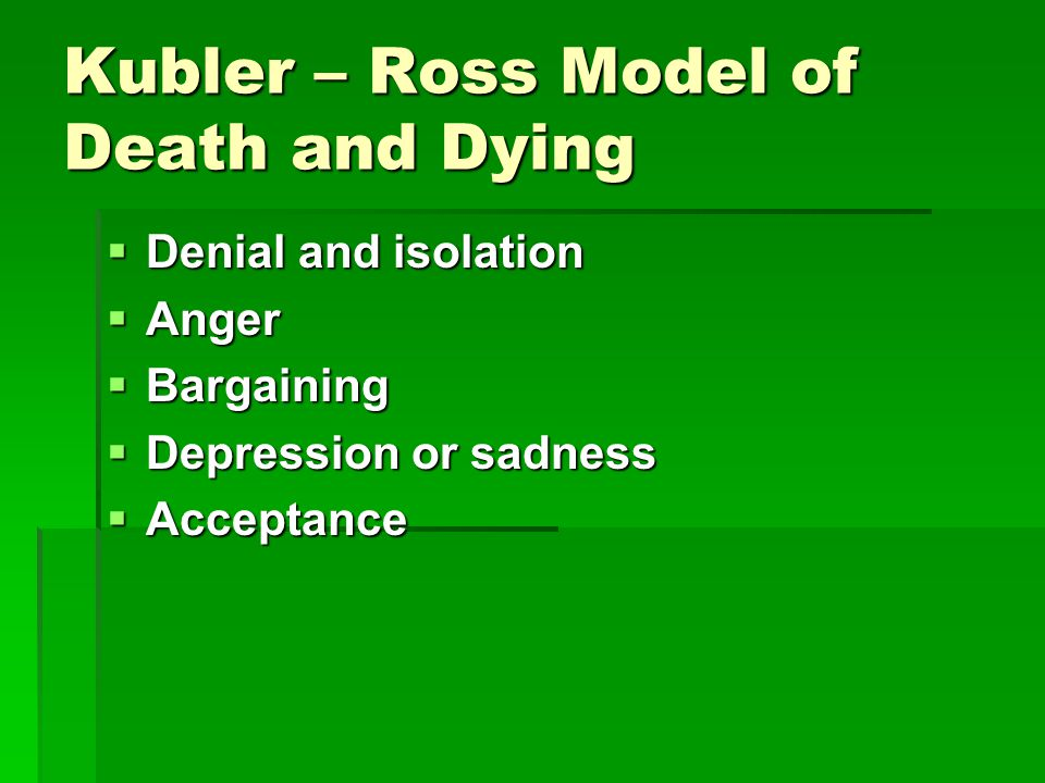 Kubler – Ross Model of Death and Dying  Denial and isolation  Anger  Bargaining  Depression or sadness  Acceptance