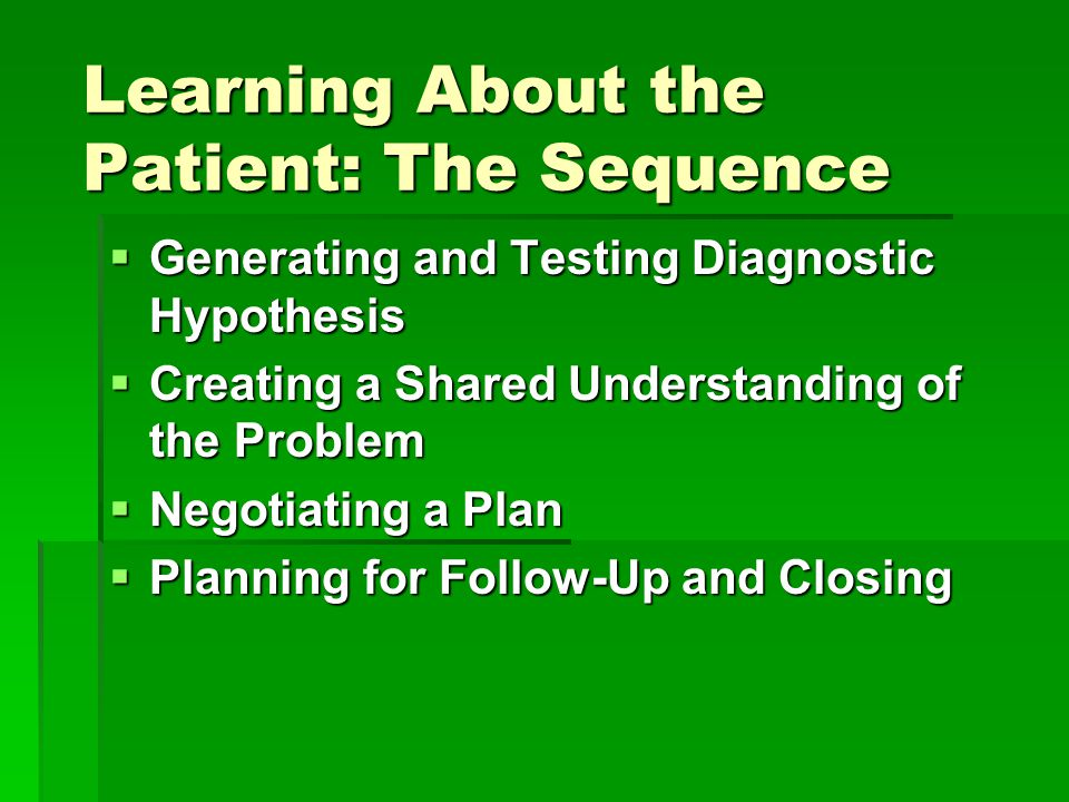 Learning About the Patient: The Sequence  Generating and Testing Diagnostic Hypothesis  Creating a Shared Understanding of the Problem  Negotiating a Plan  Planning for Follow-Up and Closing