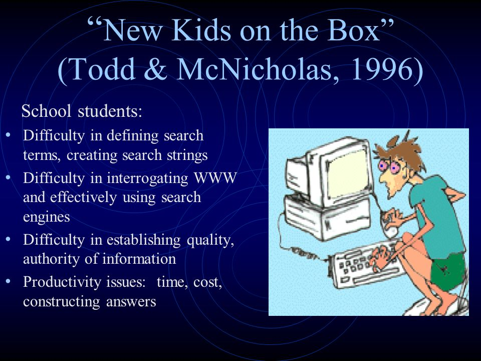 """ New Kids on the Box"" (Todd & McNicholas, 1996) School students: Difficulty in defining search terms, creating search strings Difficulty in interroga"