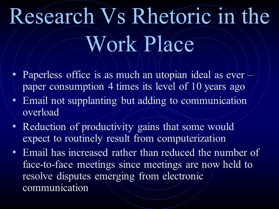 Research Vs Rhetoric in the Work Place Paperless office is as much an utopian ideal as ever – paper consumption 4 times its level of 10 years ago Emai