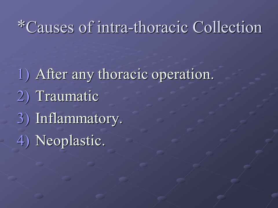 * Causes of intra-thoracic Collection 1)After any thoracic operation. 2)Traumatic 3)Inflammatory. 4)Neoplastic.