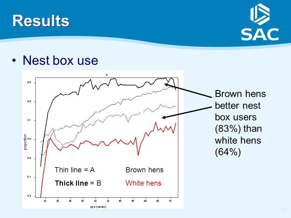 13 Results Nest box use Brown hens White hens Brown hens better nest box users (83%) than white hens (64%) Thin line = A Thick line = B