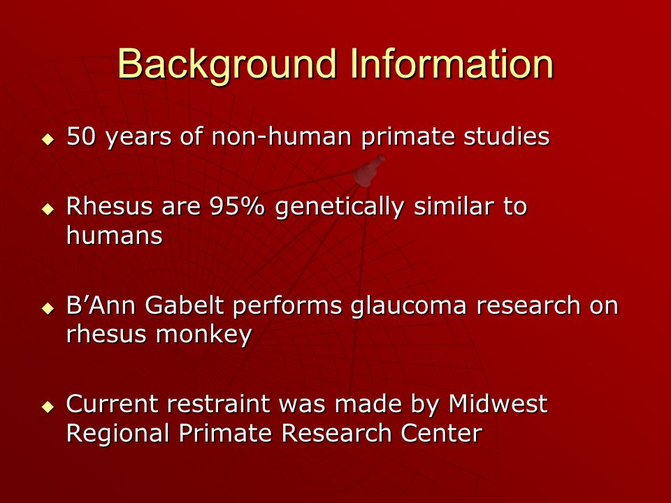 Background Information  50 years of non-human primate studies  Rhesus are 95% genetically similar to humans  B'Ann Gabelt performs glaucoma research on rhesus monkey  Current restraint was made by Midwest Regional Primate Research Center