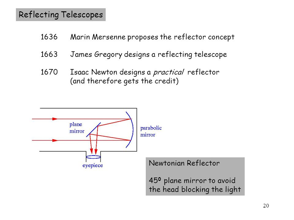 20 Reflecting Telescopes 1636 Marin Mersenne proposes the reflector concept 1663 James Gregory designs a reflecting telescope 1670 Isaac Newton designs a practical reflector (and therefore gets the credit) Newtonian Reflector 45 0 plane mirror to avoid the head blocking the light