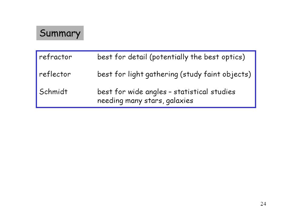 24 Summary refractorbest for detail (potentially the best optics) reflectorbest for light gathering (study faint objects) Schmidtbest for wide angles – statistical studies needing many stars, galaxies