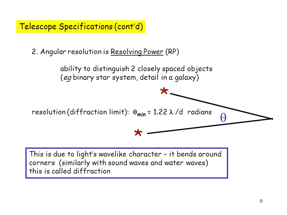 9 Telescope Specifications (cont'd) 2.