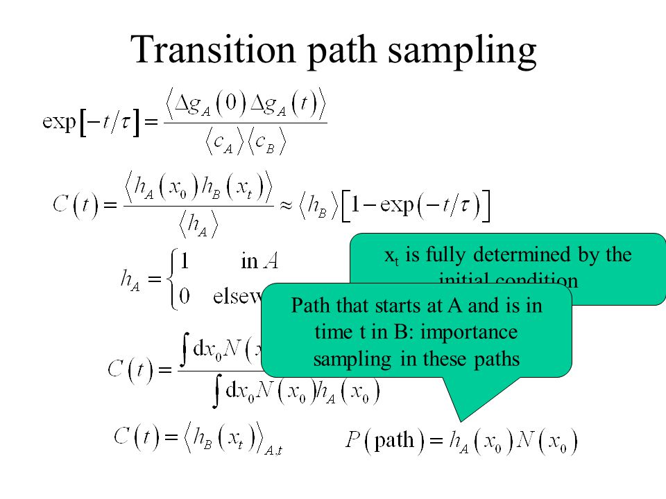Transition path sampling x t is fully determined by the initial condition Path that starts at A and is in time t in B: importance sampling in these paths