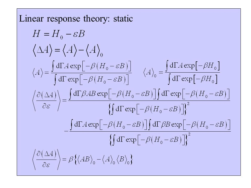 Linear response theory: static