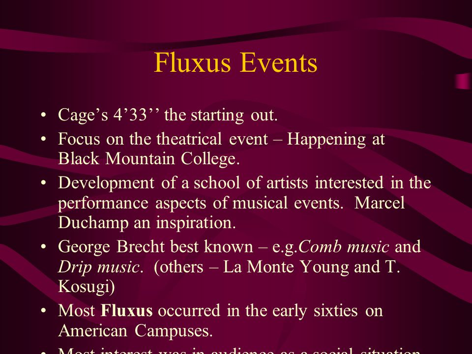 Fluxus Events Cage's 4'33'' the starting out.