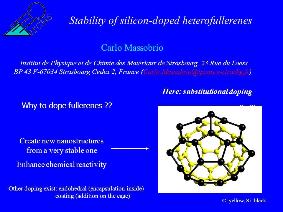 Stability of silicon-doped heterofullerenes Carlo Massobrio Institut de Physique et de Chimie des Matériaux de Strasbourg, 23 Rue du Loess BP 43 F-67034 Strasbourg Cedex 2, France (Carlo.Massobrio@ipcms.u-strasbg.fr)Carlo.Massobrio@ipcms.u-strasbg.fr Why to dope fullerenes ?.