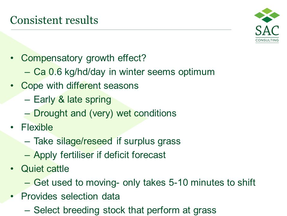 14 Consistent results Compensatory growth effect? –Ca 0.6 kg/hd/day in winter seems optimum Cope with different seasons –Early & late spring –Drought