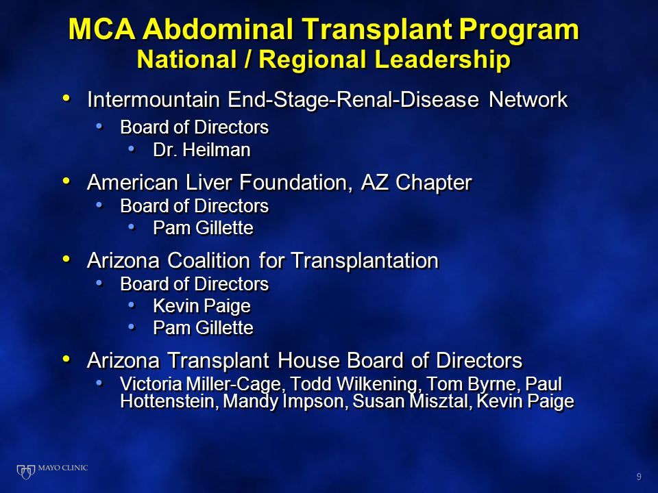 10 MCA Abdominal Transplant Program Publications, Presentations and Research Publications By Transplant Program* 2006 Unique Peer Reviewed Journal Articles - 36 2006 Authored Book Chapters - 3 Presentations at National Meetings 2006 ATC - 4 Oral and 6 Poster Presentations ILTS – 3 Oral and 2 Poster Presentations AASLD - 3 Oral and 9 Poster Presentations UNOS Administrator s Forum 2006: 1 Oral and 3 Poster Presentations AGA - 6 Poster Presentations Research Activity 30 Ongoing Protocols Publications By Transplant Program* 2006 Unique Peer Reviewed Journal Articles - 36 2006 Authored Book Chapters - 3 Presentations at National Meetings 2006 ATC - 4 Oral and 6 Poster Presentations ILTS – 3 Oral and 2 Poster Presentations AASLD - 3 Oral and 9 Poster Presentations UNOS Administrator s Forum 2006: 1 Oral and 3 Poster Presentations AGA - 6 Poster Presentations Research Activity 30 Ongoing Protocols * MCA Librarian Database