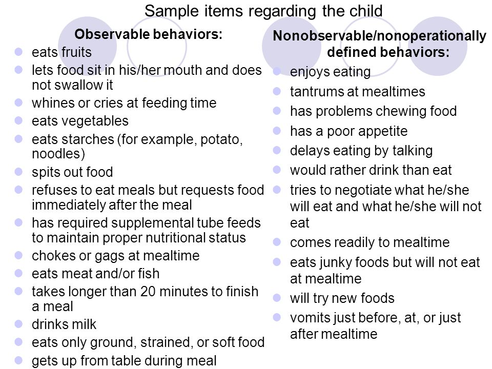 Sample items regarding the child Observable behaviors: eats fruits lets food sit in his/her mouth and does not swallow it whines or cries at feeding t
