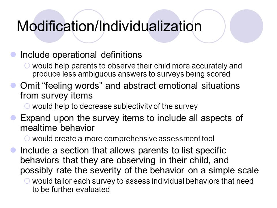 Modification/Individualization Include operational definitions  would help parents to observe their child more accurately and produce less ambiguous