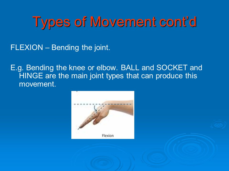 Types of Movement cont'd FLEXION – Bending the joint. E.g. Bending the knee or elbow. BALL and SOCKET and HINGE are the main joint types that can prod