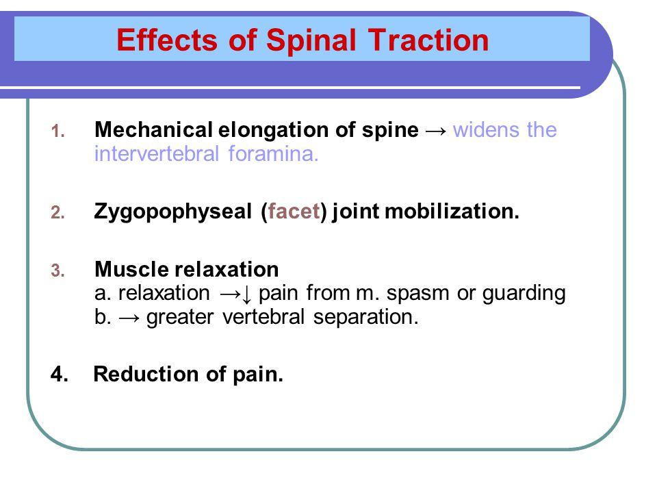 1.Mechanical Elongation of The Spine Factors influencing amount of vertebral separation 1.