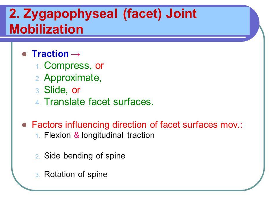 2. Zygapophyseal (facet) Joint Mobilization Traction → 1.