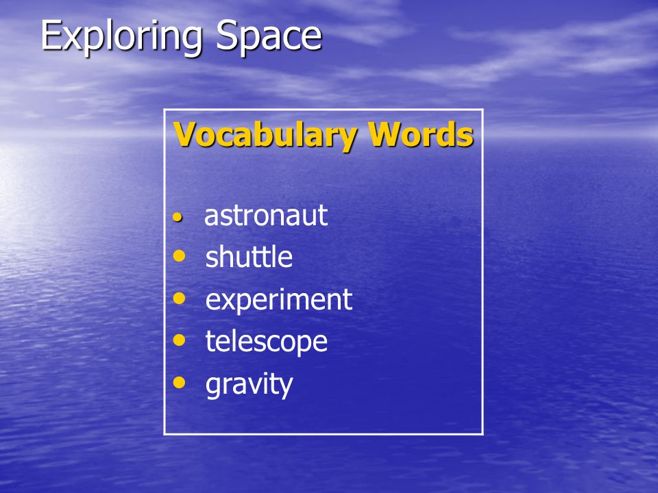 Exploring Space High Frequency Words live work woman machines everywhere world