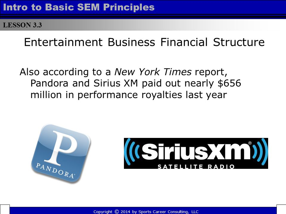 LESSON 3.3 Intro to Basic SEM Principles Entertainment Business Financial Structure Also according to a New York Times report, Pandora and Sirius XM p