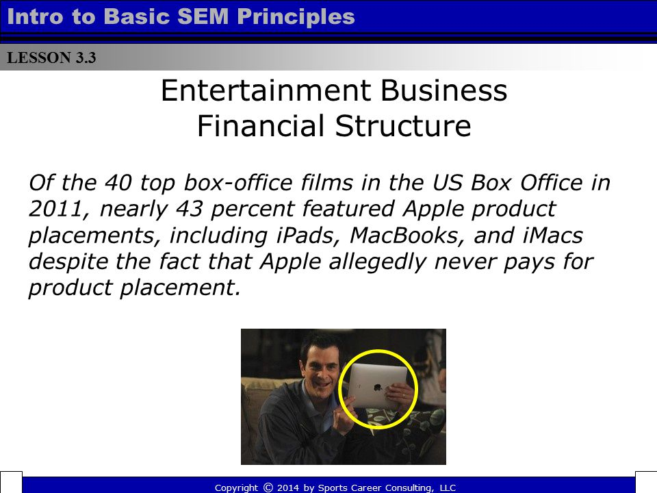 LESSON 3.3 Intro to Basic SEM Principles Entertainment Business Financial Structure Copyright © 2014 by Sports Career Consulting, LLC Of the 40 top bo