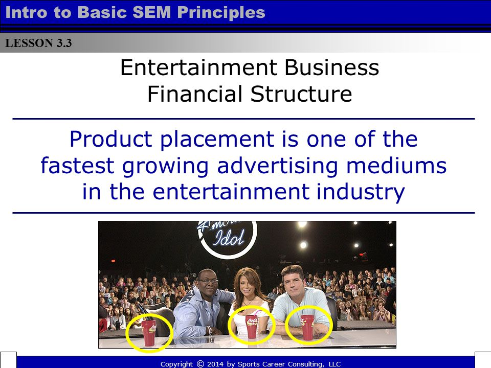 LESSON 3.3 Intro to Basic SEM Principles Entertainment Business Financial Structure Product placement is one of the fastest growing advertising medium