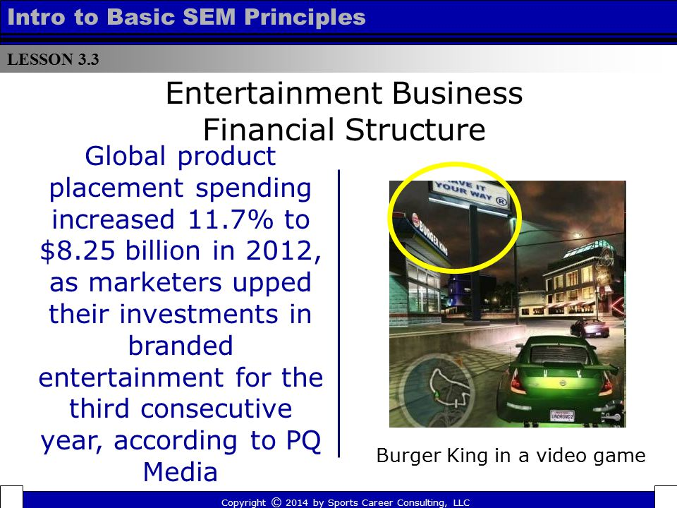 LESSON 3.3 Intro to Basic SEM Principles Entertainment Business Financial Structure Global product placement spending increased 11.7% to $8.25 billion