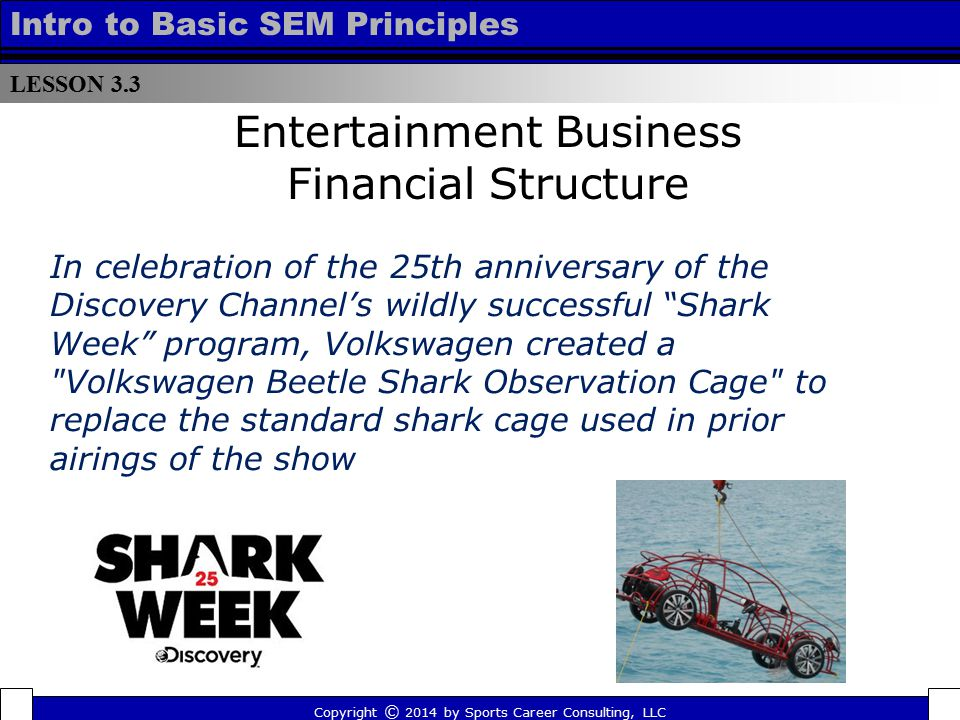 LESSON 3.3 Intro to Basic SEM Principles Entertainment Business Financial Structure Copyright © 2014 by Sports Career Consulting, LLC In celebration o