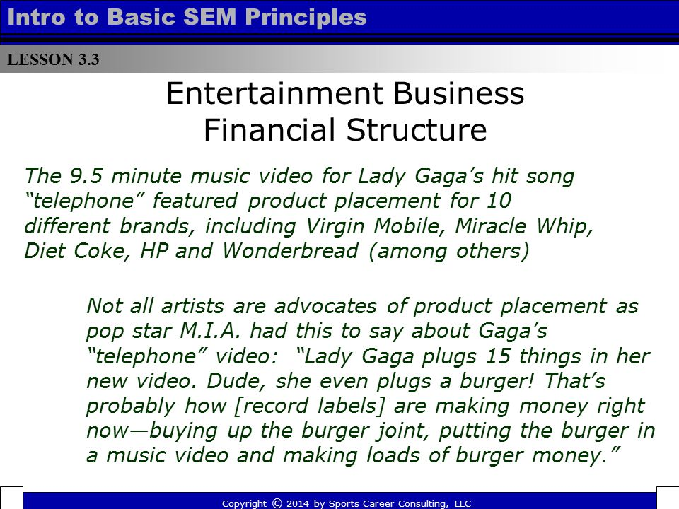 LESSON 3.3 Intro to Basic SEM Principles Entertainment Business Financial Structure Copyright © 2014 by Sports Career Consulting, LLC The 9.5 minute m