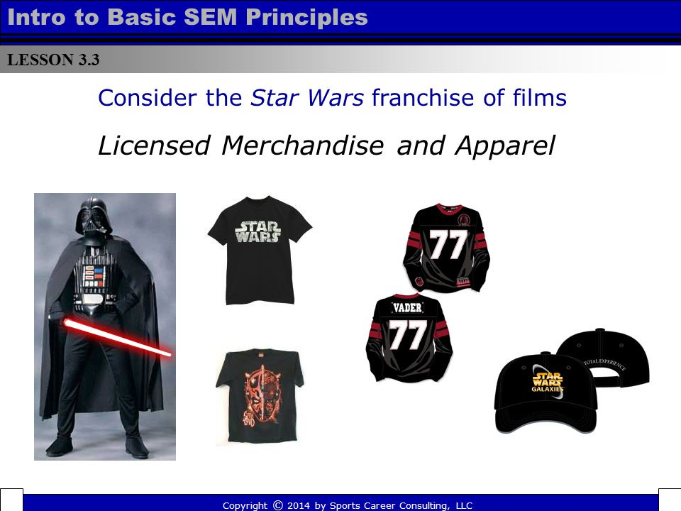 LESSON 3.3 Intro to Basic SEM Principles Consider the Star Wars franchise of films Copyright © 2014 by Sports Career Consulting, LLC Licensed Merchand
