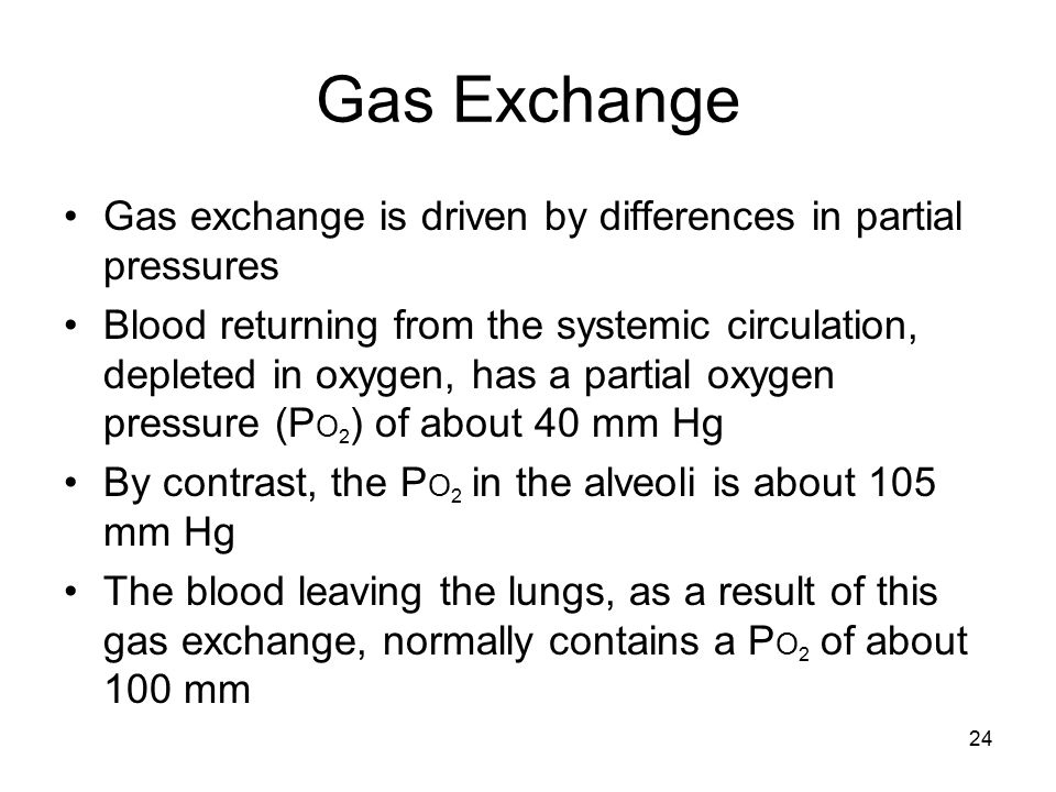 Gas Exchange Gas exchange is driven by differences in partial pressures Blood returning from the systemic circulation, depleted in oxygen, has a parti