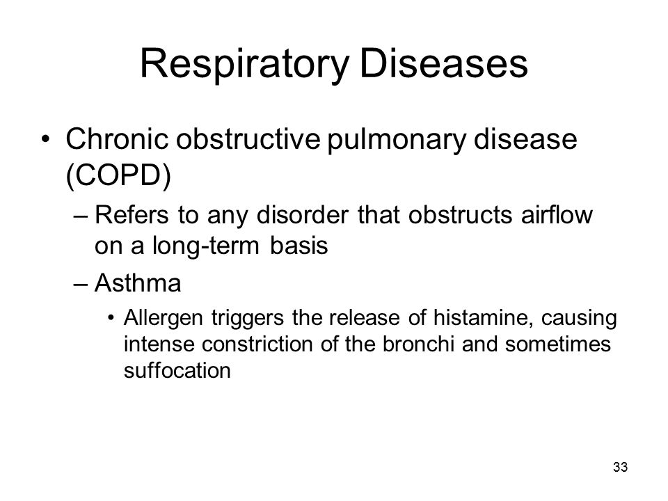 Respiratory Diseases Chronic obstructive pulmonary disease (COPD) –Refers to any disorder that obstructs airflow on a long-term basis –Asthma Allergen