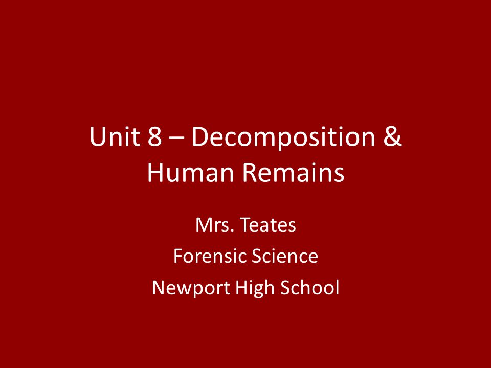 Unit 8 – Decomposition & Human Remains Mrs. Teates Forensic Science Newport High School